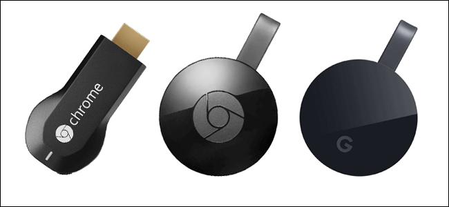 Comparação entre os Chromecasts de 1ª, 2ª e 3ª geração
