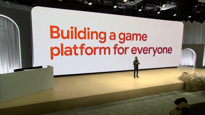 """Pichai apresentando a motivação para Stadia: """"Construir uma plataforma de games para todo mundo""""."""
