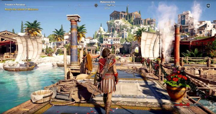 Imagem de gameplay do Assassin's Creed: Odyssey, jogo que rodou na plataforma de nuvem do Google, Projeto Agones, graças a parceria com a Ubisoft