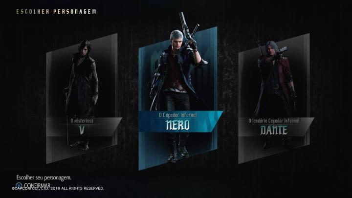 Seleção de personagens presente em alguns momentos do jogo em Devil May Cry 5.