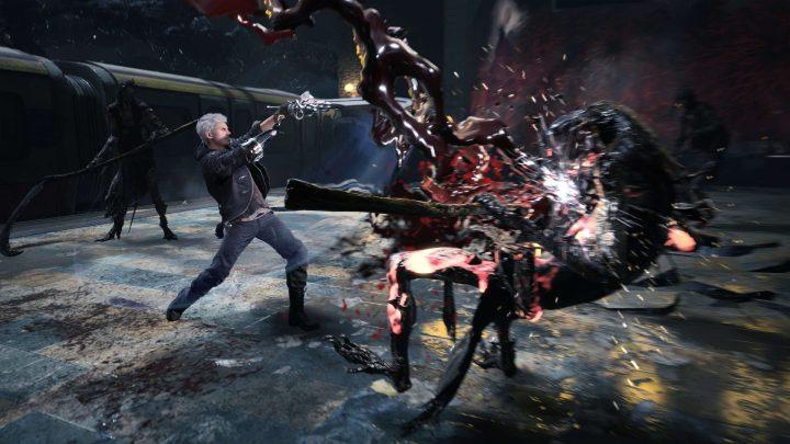 Nero em Devil May Cry 5 destruindo alguns inimigos