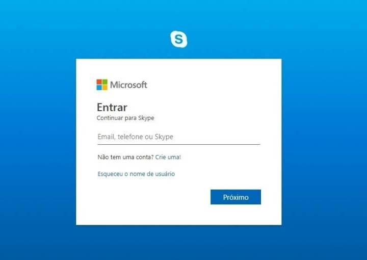 fazer login no skype web