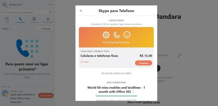 chamadas para telefone com o skype