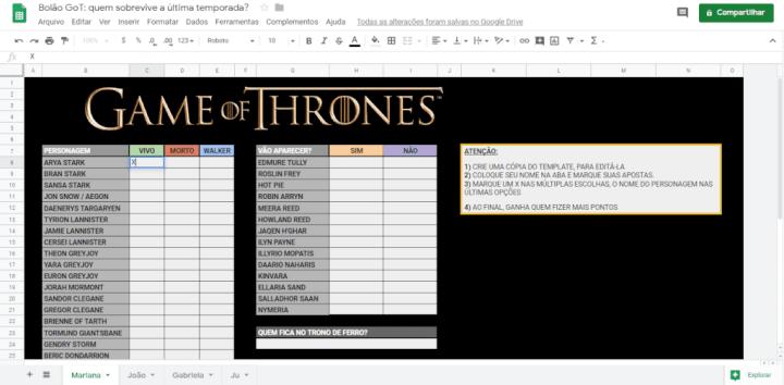 Baixe o bolão de Game of Thrones e aposte o final da série com seus amigos 5