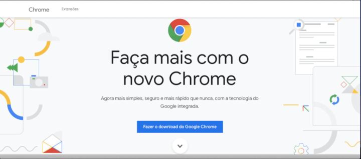 Site para baixar o Google Chrome acessado pelo Safari.