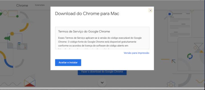 Termos de uso do Google Chrome e início do download.