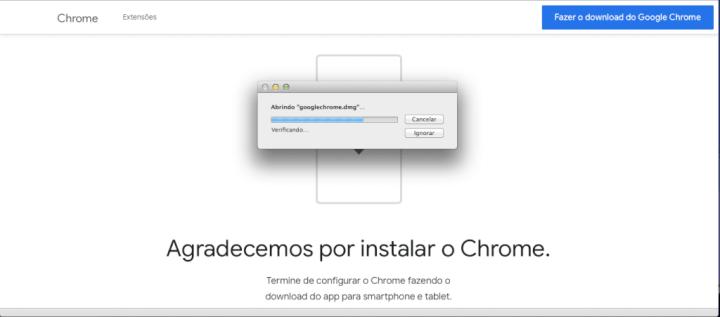 O Google Chrome inicia o download.