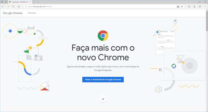Site para baixar o Google Chrome em computadores.
