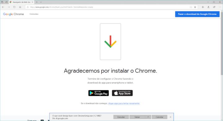 O Google Chrome pergunta se deseja salvar o arquivo.