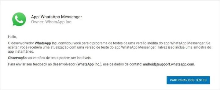 Fase de testes do novo WhatsApp