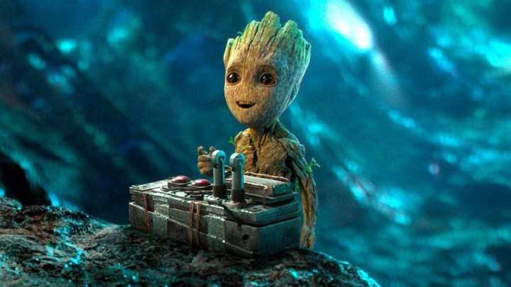 Baby groot no filme Guardiões da Galáxia Vol. 2, da Marvel.
