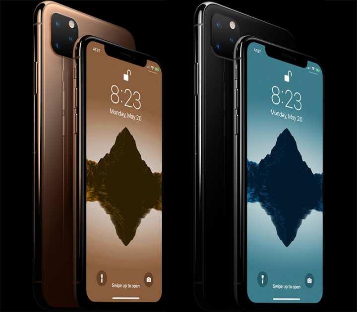 Renderização dos novos modelos de iPhones, baseadas nas informações e relatórios preliminares do mercado, inclui a câmera tripla no modelo de maior tela.