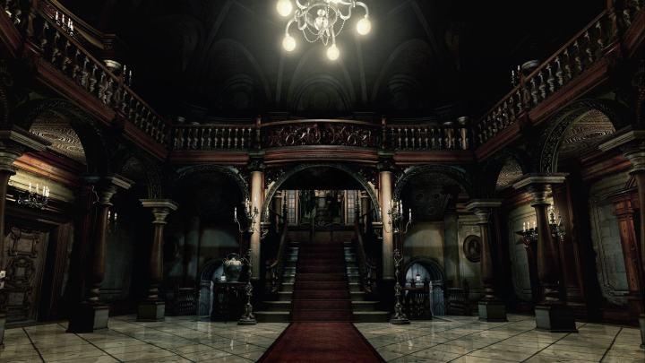A clássica tela inicial da mansão de Resident Evil.