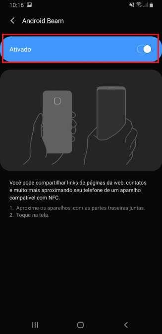 Android Beam no Galaxy A9 2018