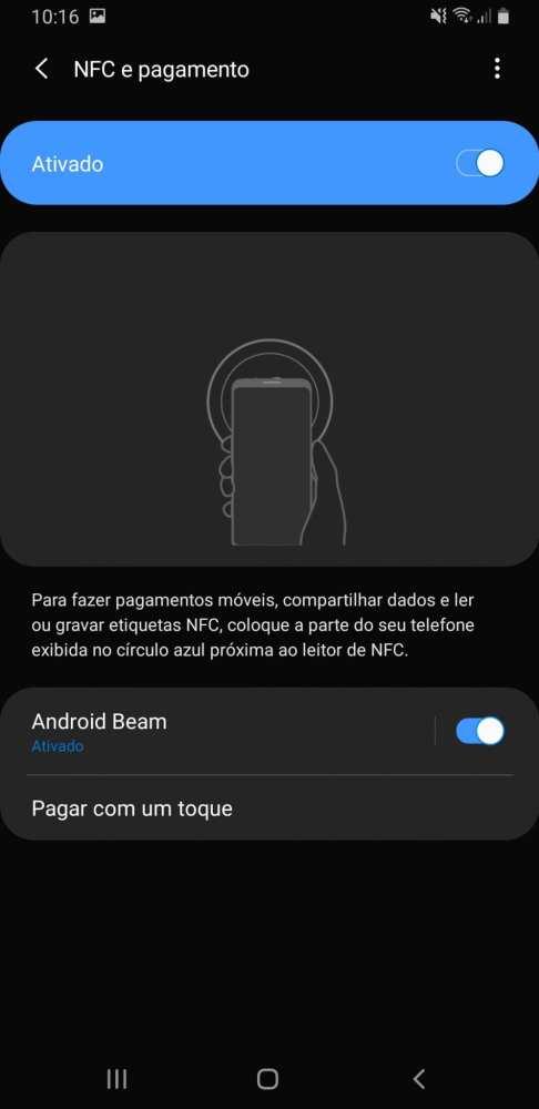 NFC pagamento via infravermelho no Galaxy A9 2018