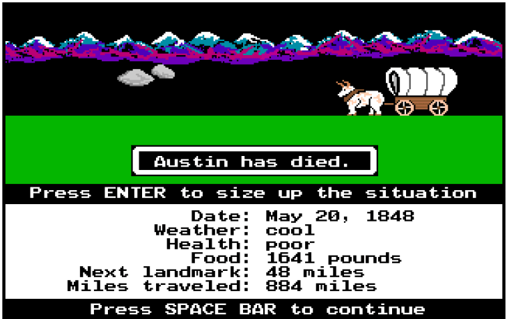 Oregon Trail é um jogo retrô de sobrevivência que ensinava sobre a vida dos pioneiros