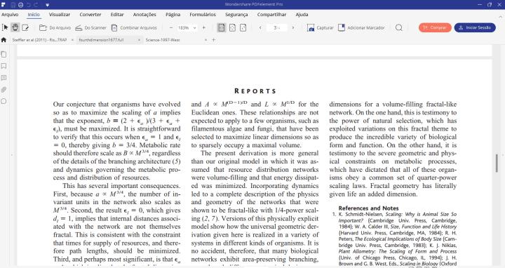 Arquivo PDF aberto com o PDFelement.