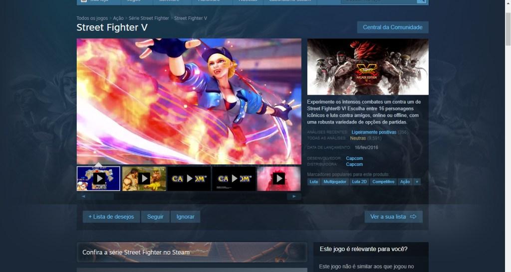 A página do jogo na Steam.