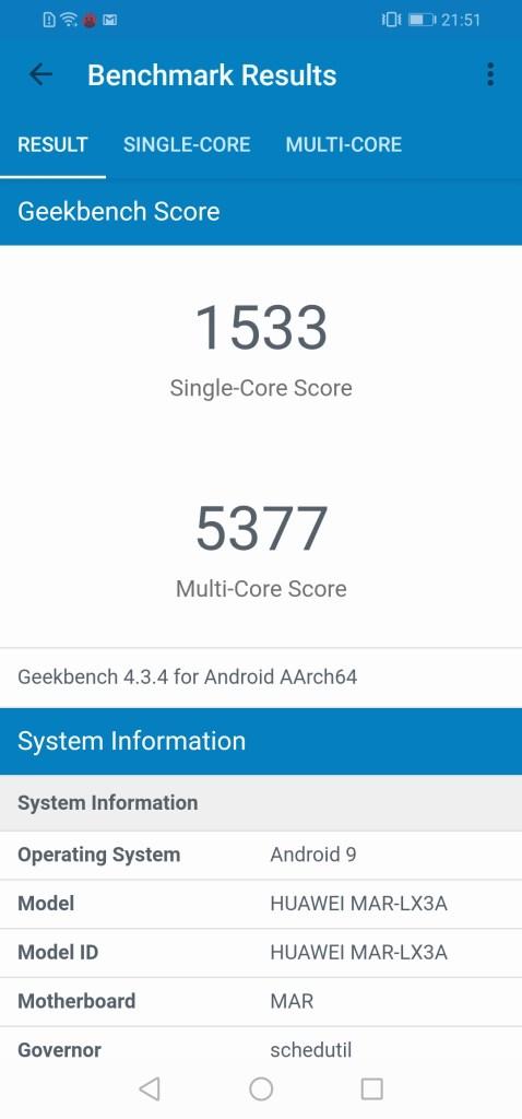 Resultados benchmark do P30 Lite