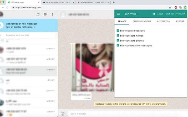 Outras configurações presentes na extensão WA Web Plus