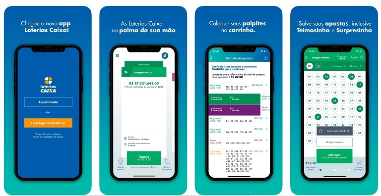 Interface do App Loterias Caixa no sistema iOS (Apple)