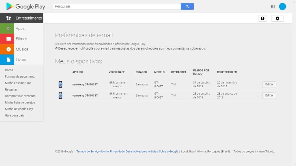 Configurações da conta no Google Play