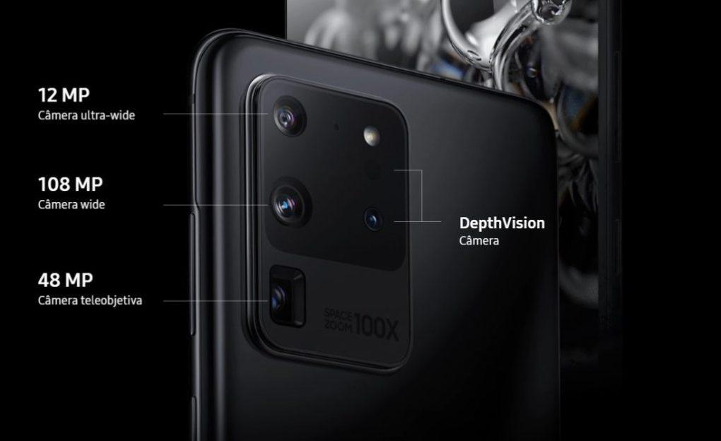 Infográfico do sistema de cãmeras do Samsung Galaxy S20 Ultra