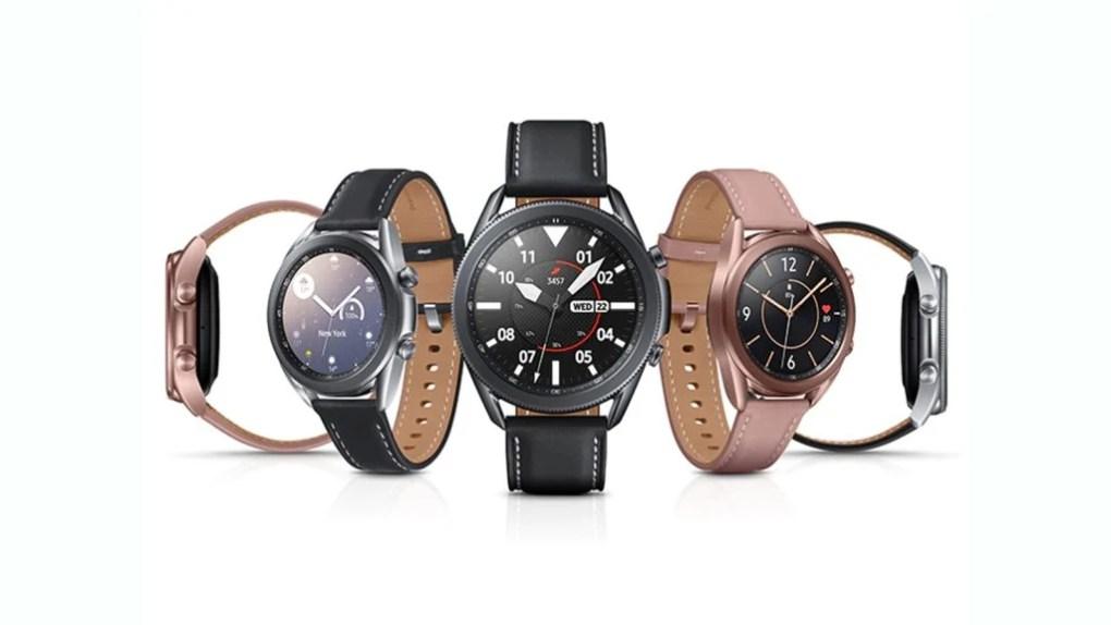 galaxy watch 3 fundo branco com 5 relógios em cores diferentes