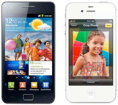 black samsung galaxy sii and white iphone 4s portrait front - Comparativo: novo iPhone 4S vs. Samsung Galaxy SII