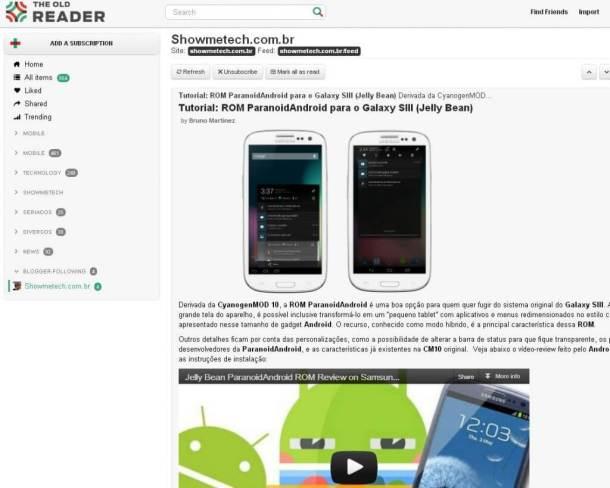 The Old Reader Google Reader 610x488 - Site The Old Reader promete recuperar o antigo Google Reader