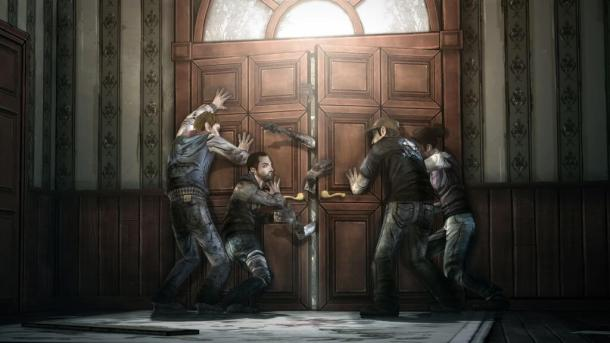 screen twd seasonfinale doorbreach 610x343 - The Walking Dead - Episode I disponível gratuitamente na Xbox Live americana!