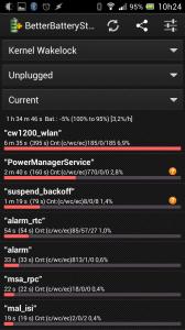 Tela do BBS mostrando os Kernel Wakelocks