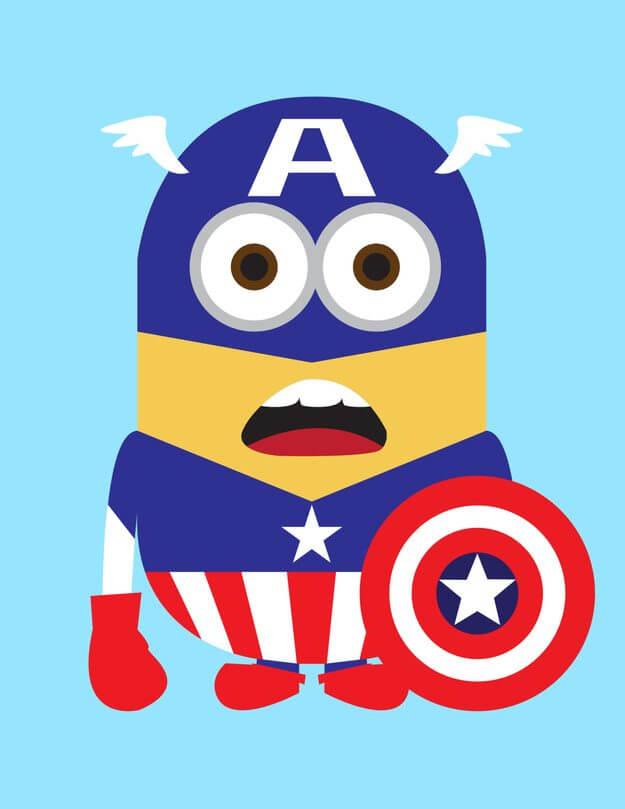 Minion Capitain Amerian - Minions ganham versões de super-heróis da Marvel e DC