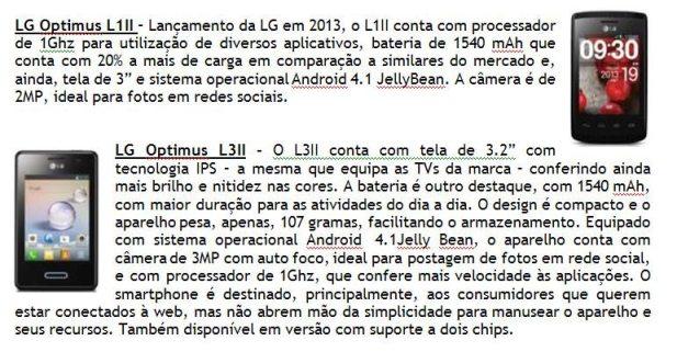 LG PRESS RELEASE 01 - LG lança linha de smartphones Optimus LII