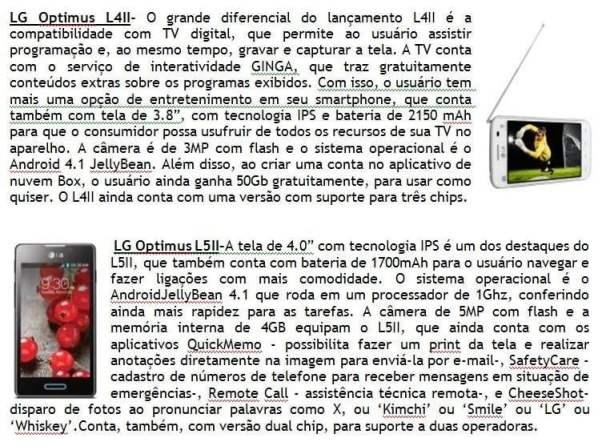 LG PRESS RELEASE 02 - LG lança linha de smartphones Optimus LII