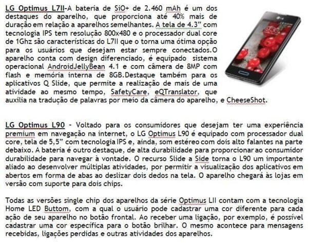 LG PRESS RELEASE 03 - LG lança linha de smartphones Optimus LII