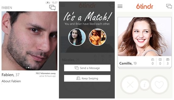 6tinder - aplicativo não oficial do Tinder para Windows Phone