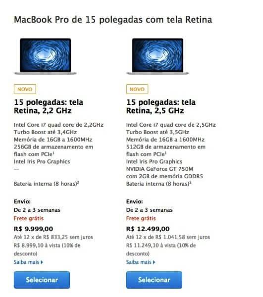 MacBook Pro Retina 15 mid 2014 - Apple atualiza linha MacBook Pro Retina