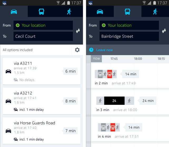 drive route overview - Nokia anuncia Here Maps para Samsung Galaxy e Gear S