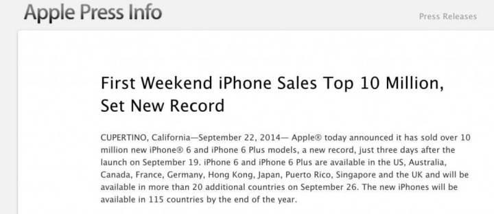 apple iphone recorde vendas 720x312 - Apple vende 10 milhões de iPhones em 72 horas