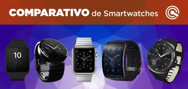 comparativo smartwatches sony moto 360 samsung galaxy s lg g watch r apple watch 720x342 - Comparativo de Smartwatches: Apple Watch, Moto 360, LG G Watch R, Samsung Gear S e Sony SW3