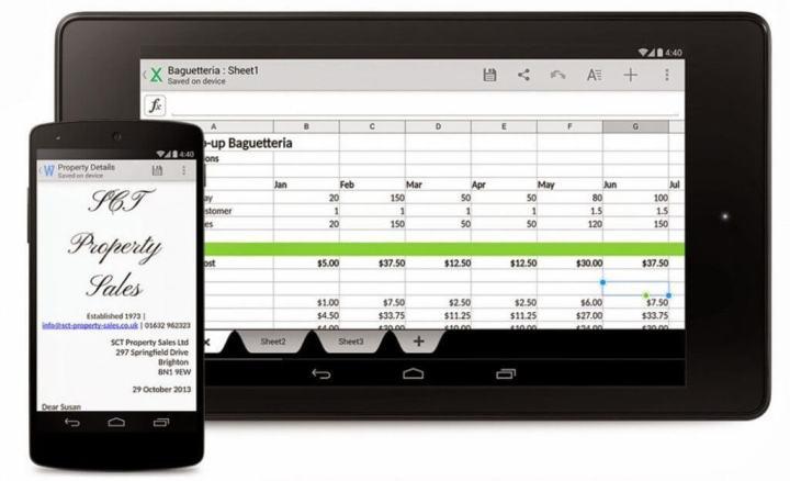 google android kitkat quickoffice hero 720x438 - Pacote de aplicativos Office é oferecido de graça pela Microsoft iOS e Android