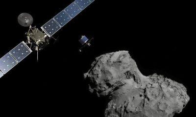 rosetta at comet landscape node full image 2 - Vídeo simula como será pouso inédito de uma sonda espacial num cometa