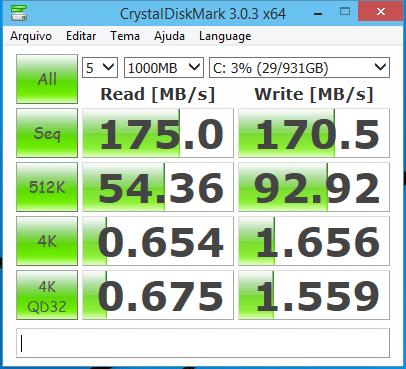 crystaldiskmark 3 0 3 resultados - Review: HD 1TB Western Digital Blue (WD10EZEX)