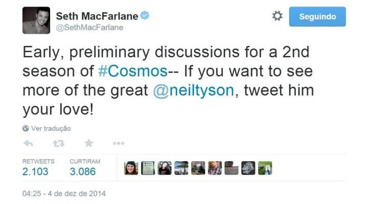 """cosmossethtwitter 720x400 - Segunda temporada de """"Cosmos: A Spacetime Odyssey"""" permanece em suspense"""