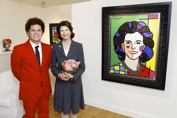Drottning Silvia träffade pop-konstnären Romero Britto