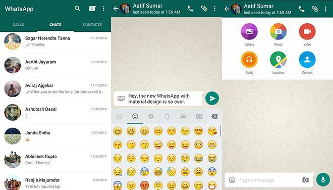 whatsapp material design 2 - Faça o download do novo Whatsapp com Material Design (APK)