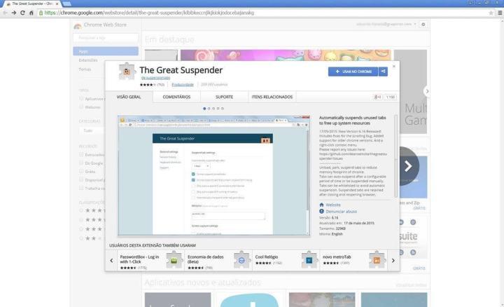 """smt thegreatsuspender 02 720x438 - Extensão """"The Great Suspender"""" do Google Chrome promete velocidade e desempenho"""