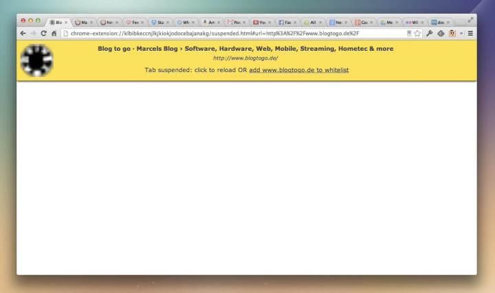 """smt thegreatsuspender 05 720x427 - Extensão """"The Great Suspender"""" do Google Chrome promete velocidade e desempenho"""
