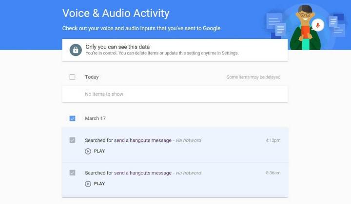Removendo histórico de busca por voz nas configurações da conta Google